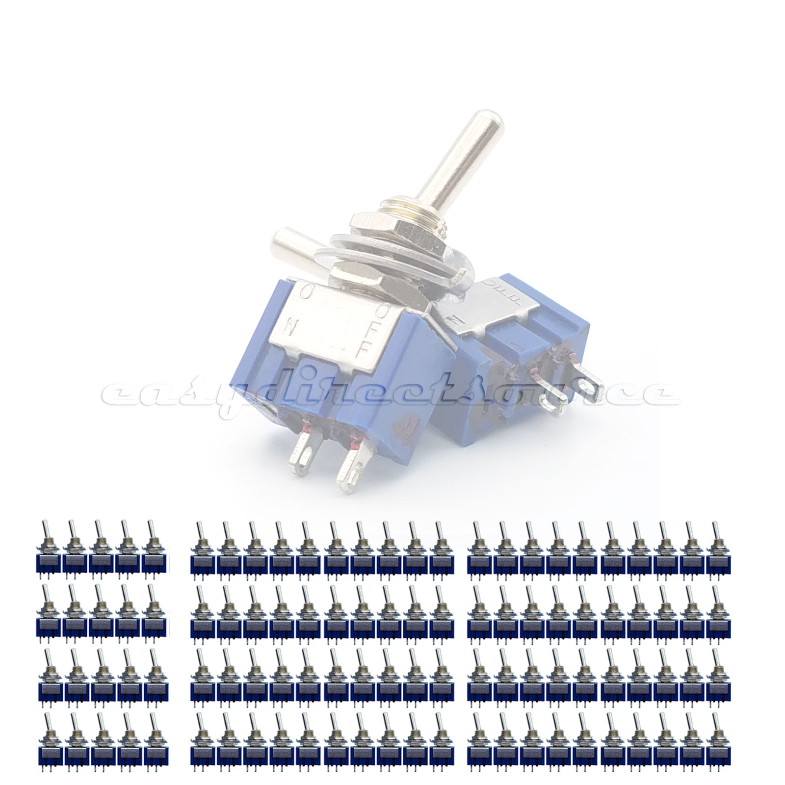 100pcs 2 Pin Spst Position 6a 250vac On Off Mts 101 Mini Toggle Rocker Switches Switch Onoff