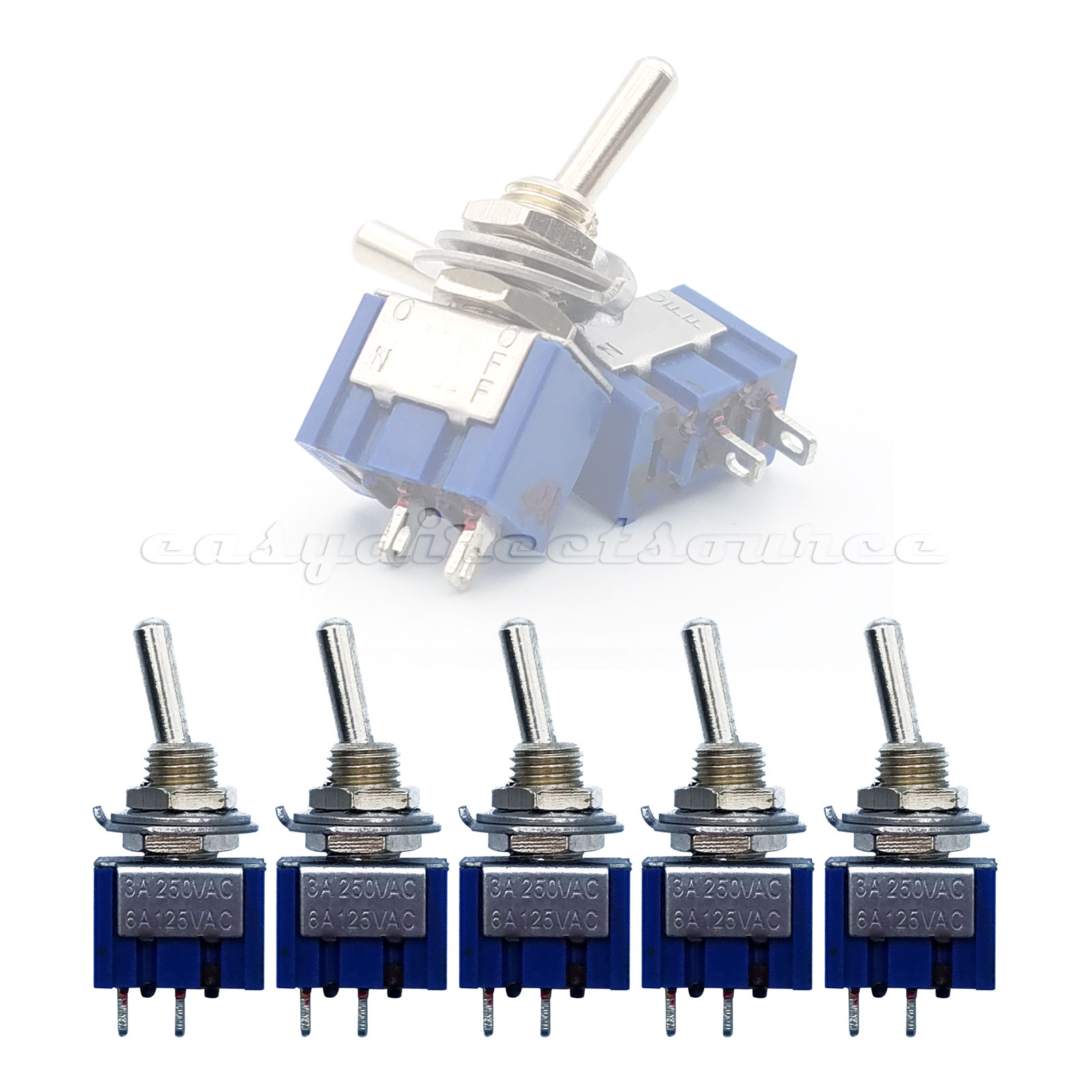 5pcs 2 Pin Spst Position 6a 250vac On Off Mts 101 Mini Toggle Rocker Switches Switch Onoff
