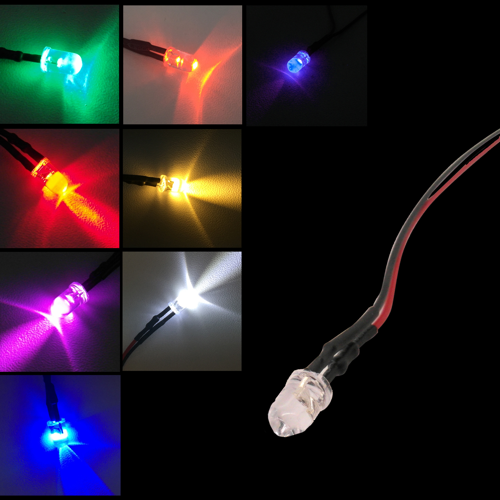 5mm 12V Pre-Wired Bright Flashing LED Lamp Various Colours Water Clear Lens