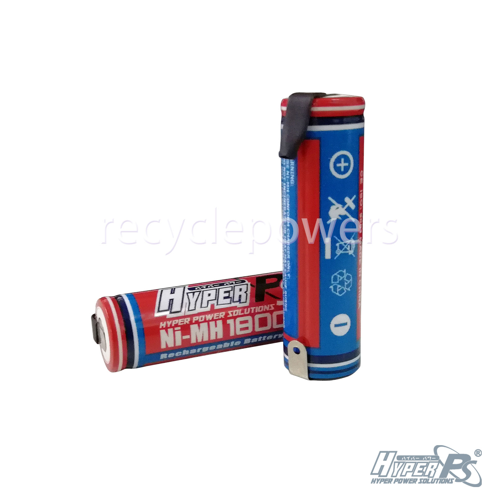 2pcs Aa 1800mah 1 2v Rechargeable Battery Hyperps With Tab
